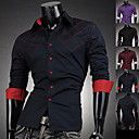 Hombres Color de Contraste Square Imprimir Shirt