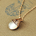 Women's Cut Out Opal Waterdrop Pendant Necklace