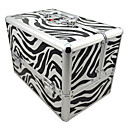 3 Trays Jewelry Comestic Organizing Makeup Train Case Aluminum Box With Zebra Print