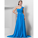 Sheath/Column One Shoulder Chapel Train Chiffon Evening Dress