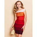TS Boat Neck Sleeveless Gradient Red Bodycon Bandage Dress
