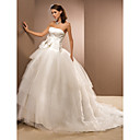 Ball Gown Strapless Chapel Train Satin And Taffeta Criss-Cross Wedding Dress