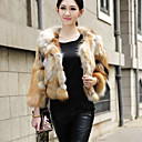 3/4 Sleeve Collarless Red Fox Fur Casual/Party Jacket