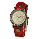 Unique Women's Leather Quartz Movement Round Glass Wrist Watches More Colors