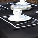Set of 4 White Line Black Placemats