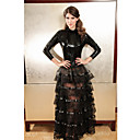 Women's Elegant Faux Leather Ruffles Long Dress