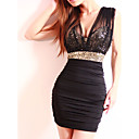 Women's Deep-v Sequined Bodycon Dress