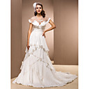 A-line V-neck Chapel Train Taffeta Wedding Dress With A Wrap