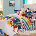 4PCS Colorful Pattern Quilted Cotton Duvet Cover Set