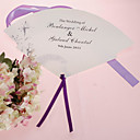 Personalized Pearl Paper Hand Fan - Gray Flower (Set of 12)