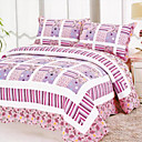 3PCS Pink Cotton Queen Size Quilt Set