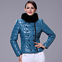 Long Sleeve Fox Fur Standing Collar Lambskin Leather Casual/Office Jacket (More Colors)