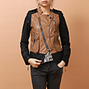 Long Sleeve Collarless PU With Zipper Party/Office Jacket