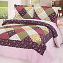 3PCS Plaid Pattern Cotton Queen Size Quilt Set