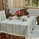 Classic Cotton Jacquard Blue Stripe Table Cloths