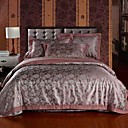 4 PCS Burgundy Geometric Jacquard Cotton Full/Queen Duvet Cover Set