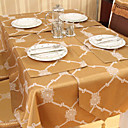 Traditional Polyester Cotton Blend Gold Jacquard Geometric Table Cloths