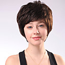 Capless Short Chocolate Brown Curly Mixed Hair Wigs