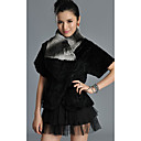 Short Sleeve Turndown Collar Rex Rabbit Fur Casual/Party Jacket