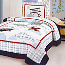 3PCS Plane Pattern Cotton Queen Size Quilt Set