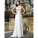 Sheath/Column Jewel Sweep/Brush Train Chiffon Evening Dresses