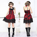 Sleeveless Short Red Cotton Black Floral Lace Guro Lolita Dres