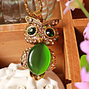Women's Green Opal Eye Owl Diamond Necklace