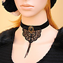 Women's Gothic Black Velvet Ribbon Big Lace Flower Necklace with Silver Grey Chain Tassel