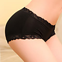 Women's Solid Color Lace Splicing Bamboo Fiber Low Rise Panties(Waist:56-88cm)