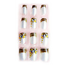 24PCS 3D Diamond Nail Art Tips Application of Gum Luxurious Bride Golden Glitter