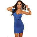 Women's One-shoulder Cascading Ruffles Blue Dress