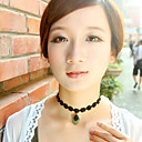 Women's Gothic Little Flower Lace Necklace with Black Zircon Pendant
