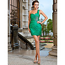 Good Sheath/Column Sweetheart One Shoulder Short/Mini Chiffon Cocktail Dresses