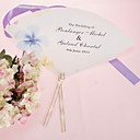 Personalized Pearl Paper Hand Fan - Blue Flower (Set of 12)