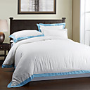 3PCS Blue Frame Garment Wash Linen Twin/Queen/King Duvet Cover Set