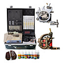 1 Steel and 1 Carved Tattoo Gun Kit with LCD Power and 70ML Colors