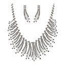 Austrian Rhinestone Bib Necklace With Matching Earrings Bridal Set