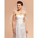 One-tier velo da sposa gomito con bordo in pizzo applique