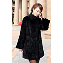 Long Sleeve Standing Collar Rex Rabbit Fur Casual/Party Coat