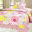 3PCS Pink Floral Cotton Queen Size Quilt Set