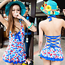 One-piece Colorful Print Backless Swimwear
