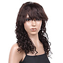 Silk Top 100% Indian Remy Hair 16 Inch Natural Black 3cm Curly Full Lace Wig With Bangs