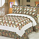 3PCS Floral Geometric Cotton Queen Size Quilt Set