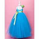 Ball Gown Spaghetti Straps Floor-length Satin And Tulle Lovely Flower Gril Dress