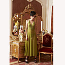 Green A-line Halter Long Lingerie Dress(Bust:84-120cm)