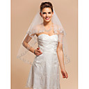 Elegant Two-tier Elbow Wedding Veil With Applique Edge