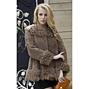 Long Sleeve Lamb Fur Turndown Collar Rabbit Fur Casual/Party Jacket
