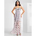 Sheath/Column Sweetheart Asymmetrical Lace And Sequined Evening Dress