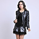 Long Sleeve Collarless Sheepskin Casual/Party Jacket
