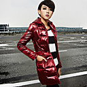 Women's Hooded Zip-up Slim PU Leather Down Coat